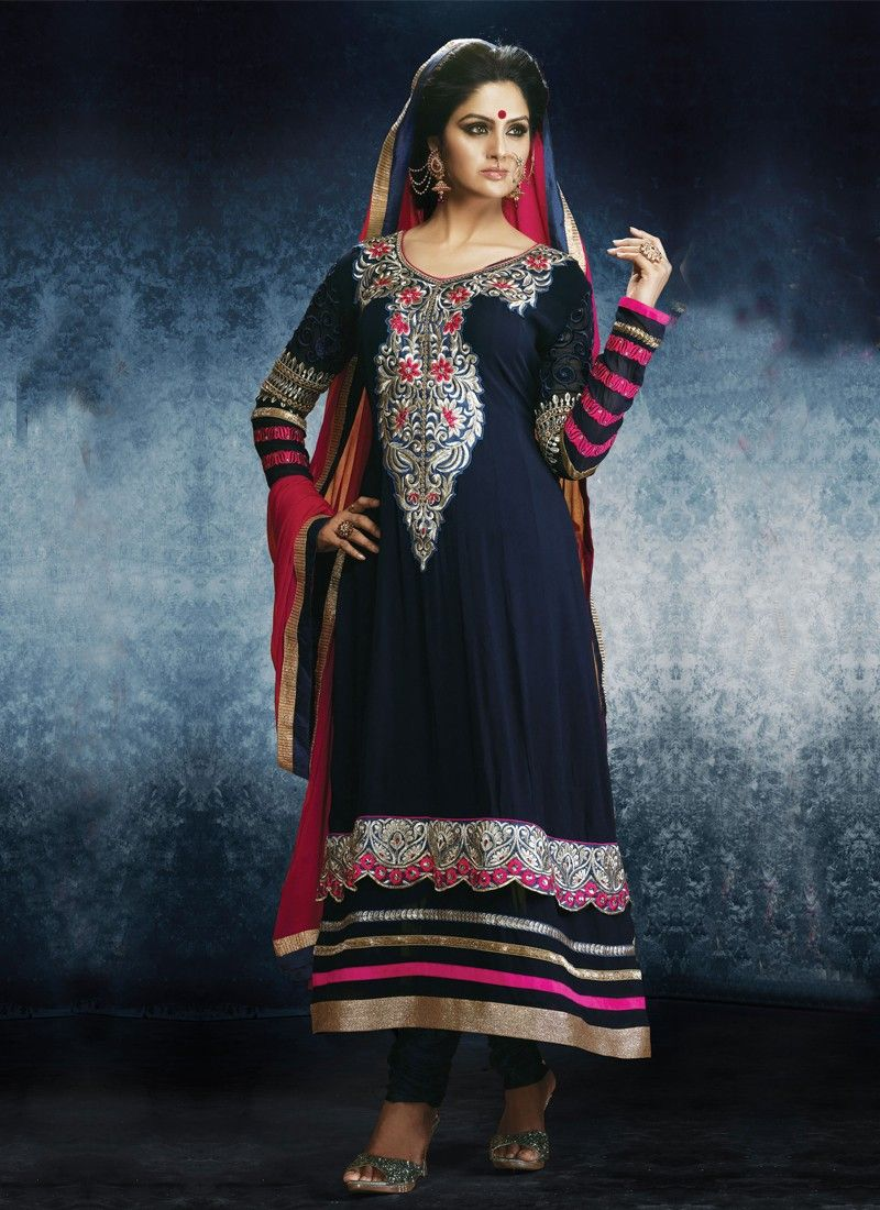 Fabulose Black Embroidery Work Anarkali Suit