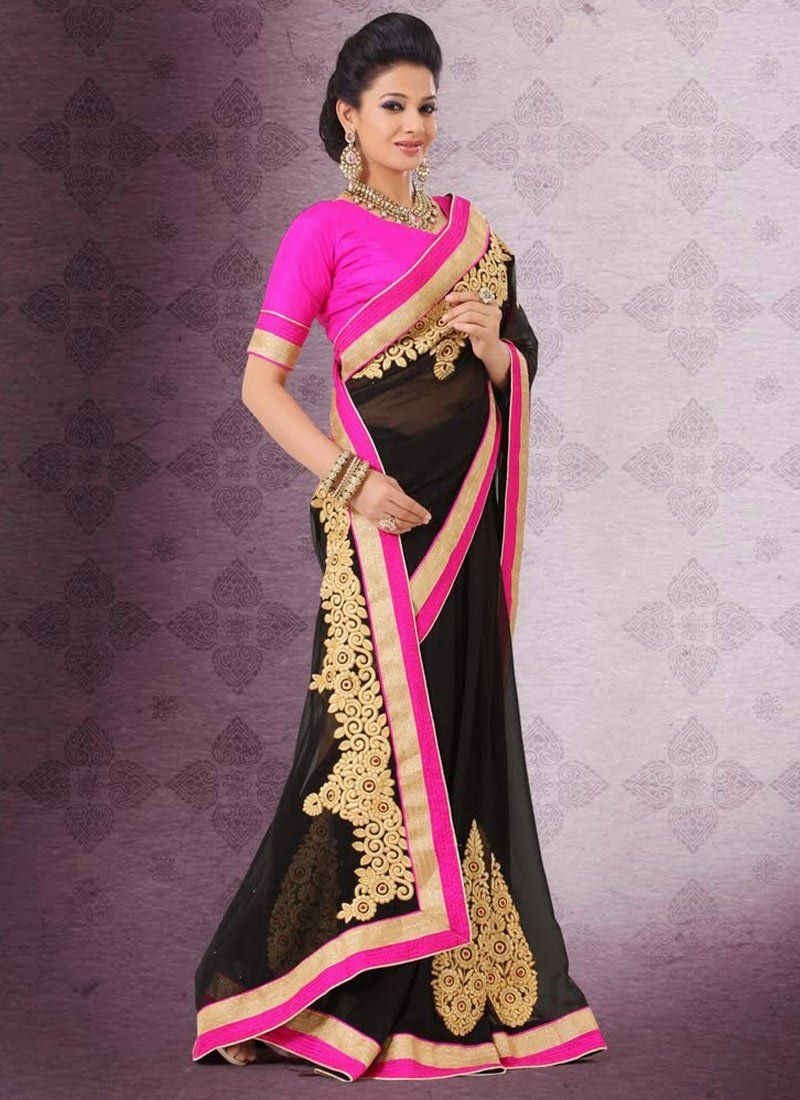 Fabulose Black Embroidery Work Faux Georgette Saree