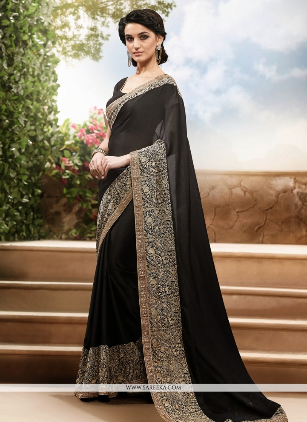 Fabulose Black Faux Chiffon Designer Saree