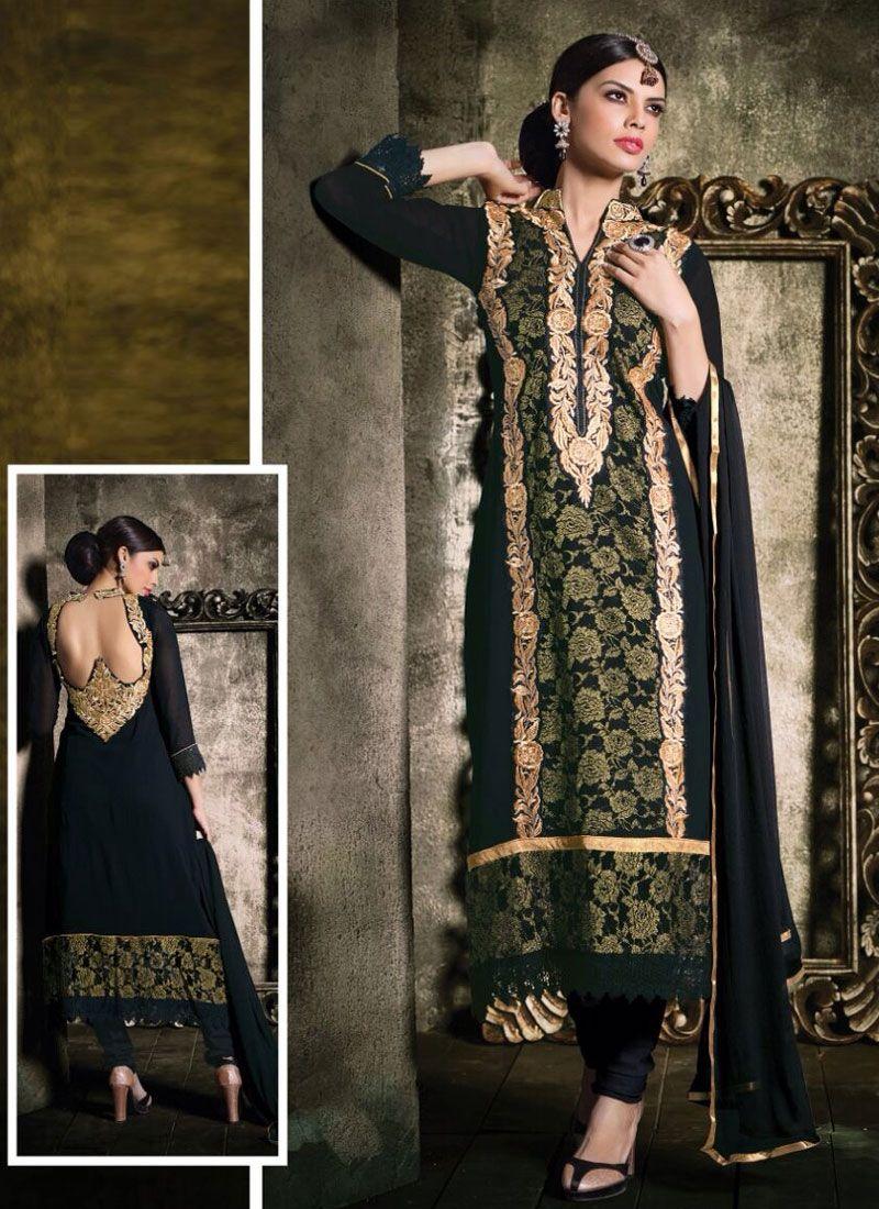 Fabulose Black Georgette Churidar Suit