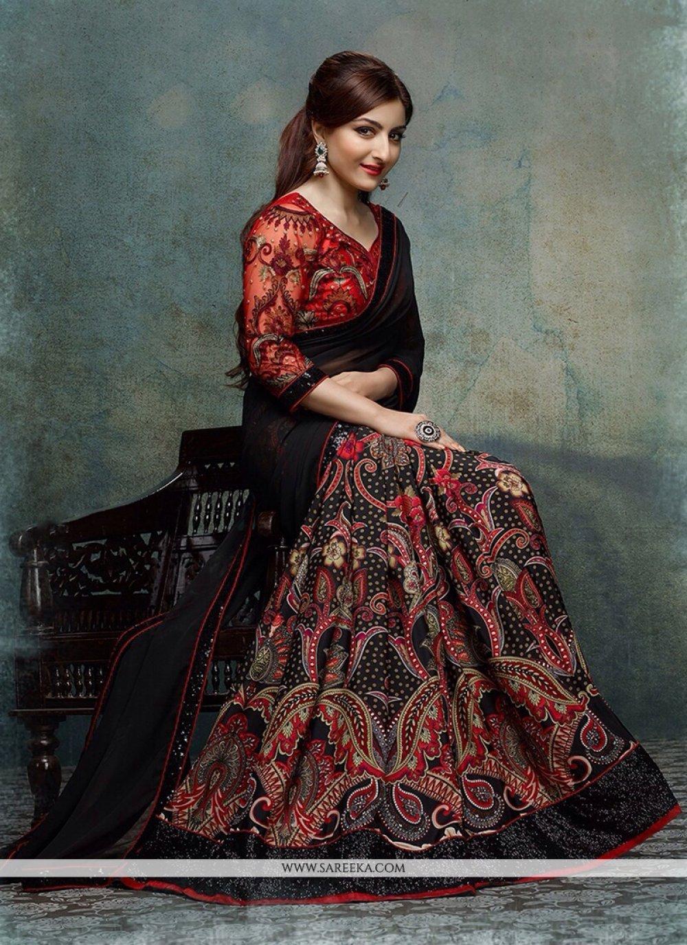 Soha Ali Khan Black Georgette Designer Saree