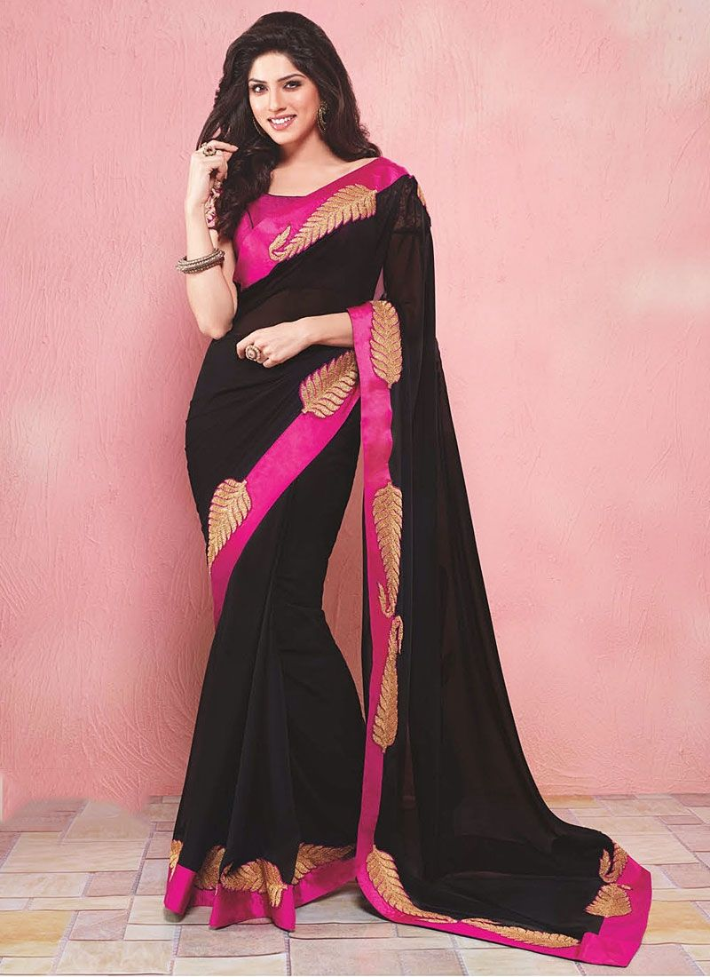 Fabulose Black Georgette Saree