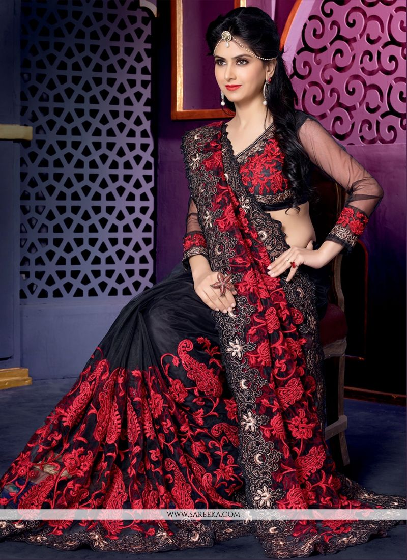 Fabulose Black Net Designer Saree