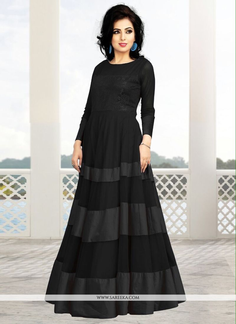 Fabulose Black Soft Net And Satin Gown