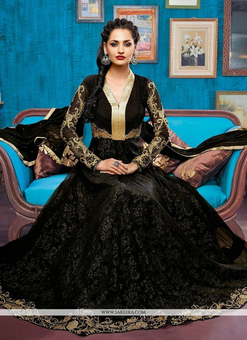 Fabulose Black Zari Work Net Anarkali Suit