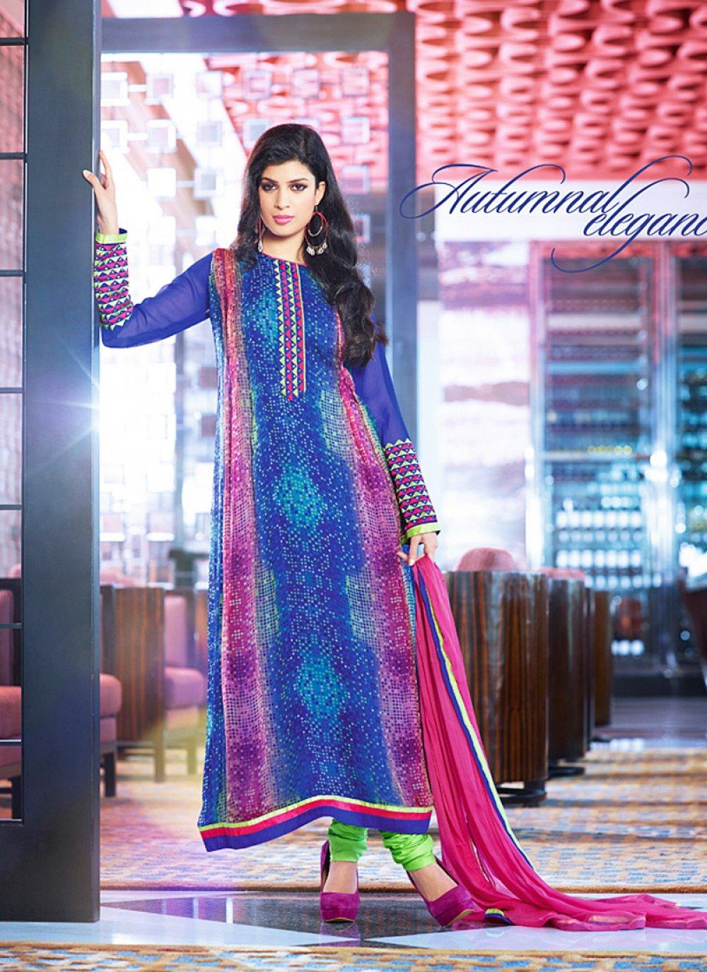 Fabulose Blue Embroidery Work Churidar Salwar Suit