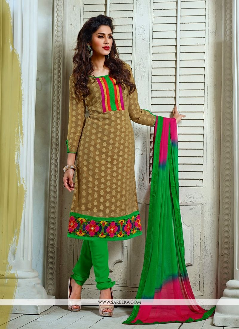 Fabulose Brown Pure Jacquard Churidar Suit