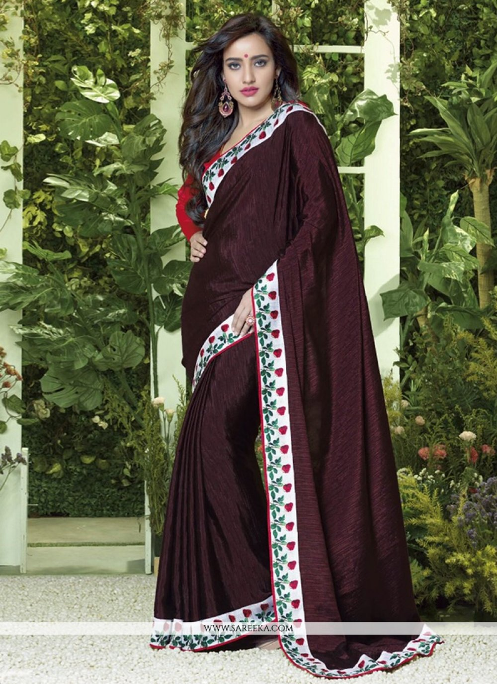 Fabulose Brown Silk Jacquard Casual Saree