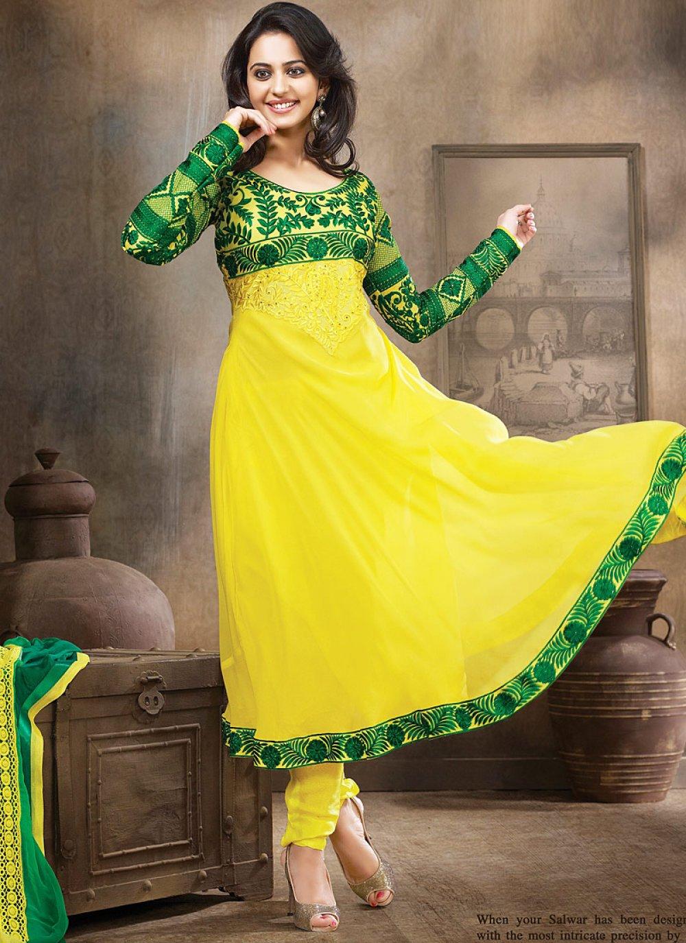 Fabulose Green And Yellow Resham Work Anarkali Suit