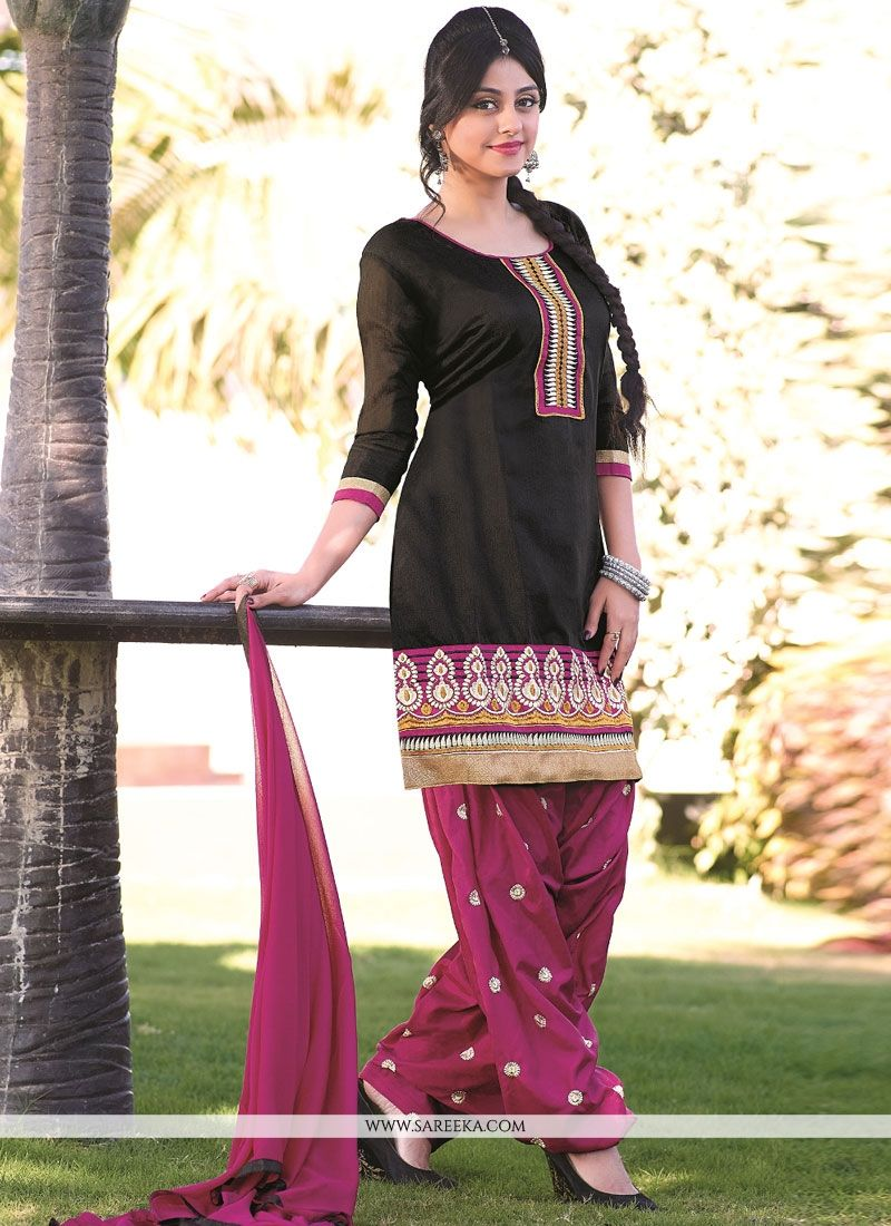 Fabulose Black Banarasi Jacquard Punjabi Suit