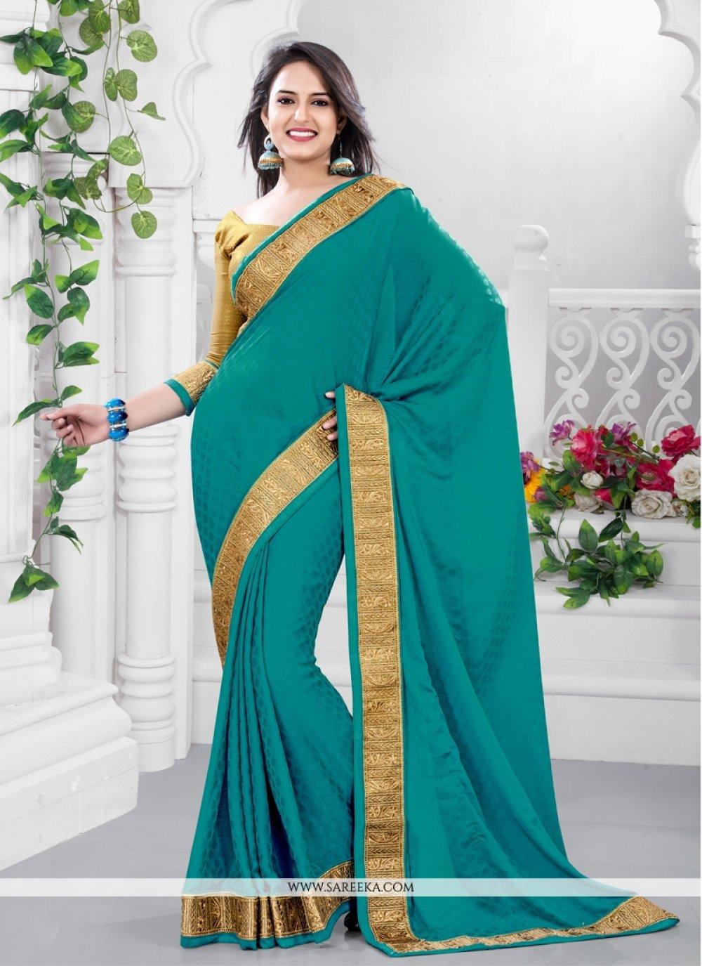 Fabulose Green Crepe Chiffon Casual Saree