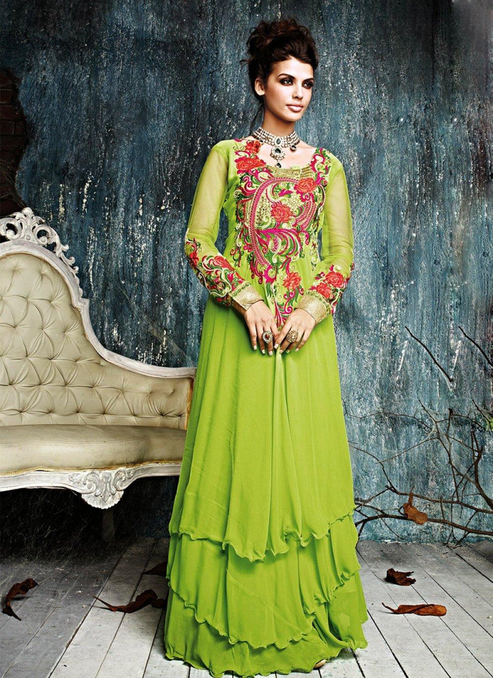Fabulose Green Georgette Anarkali Suit