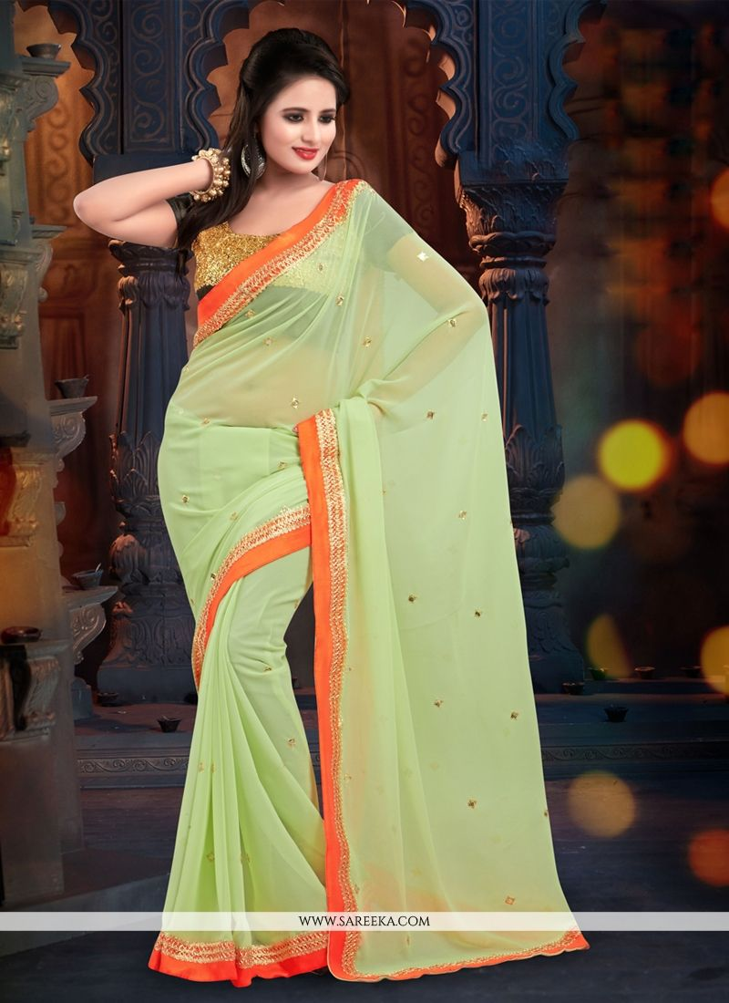 Fabulose Green Georgette Casual Saree