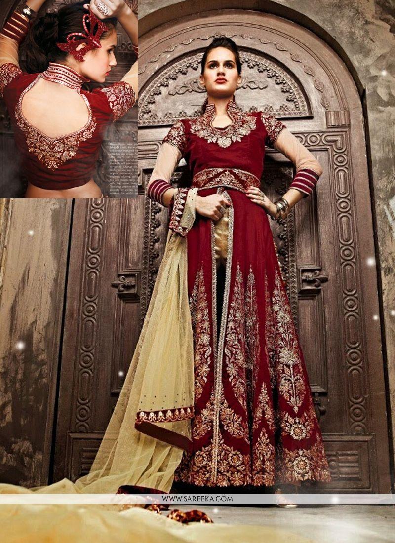 Fabulose Maroon Georgette Salwar Suit