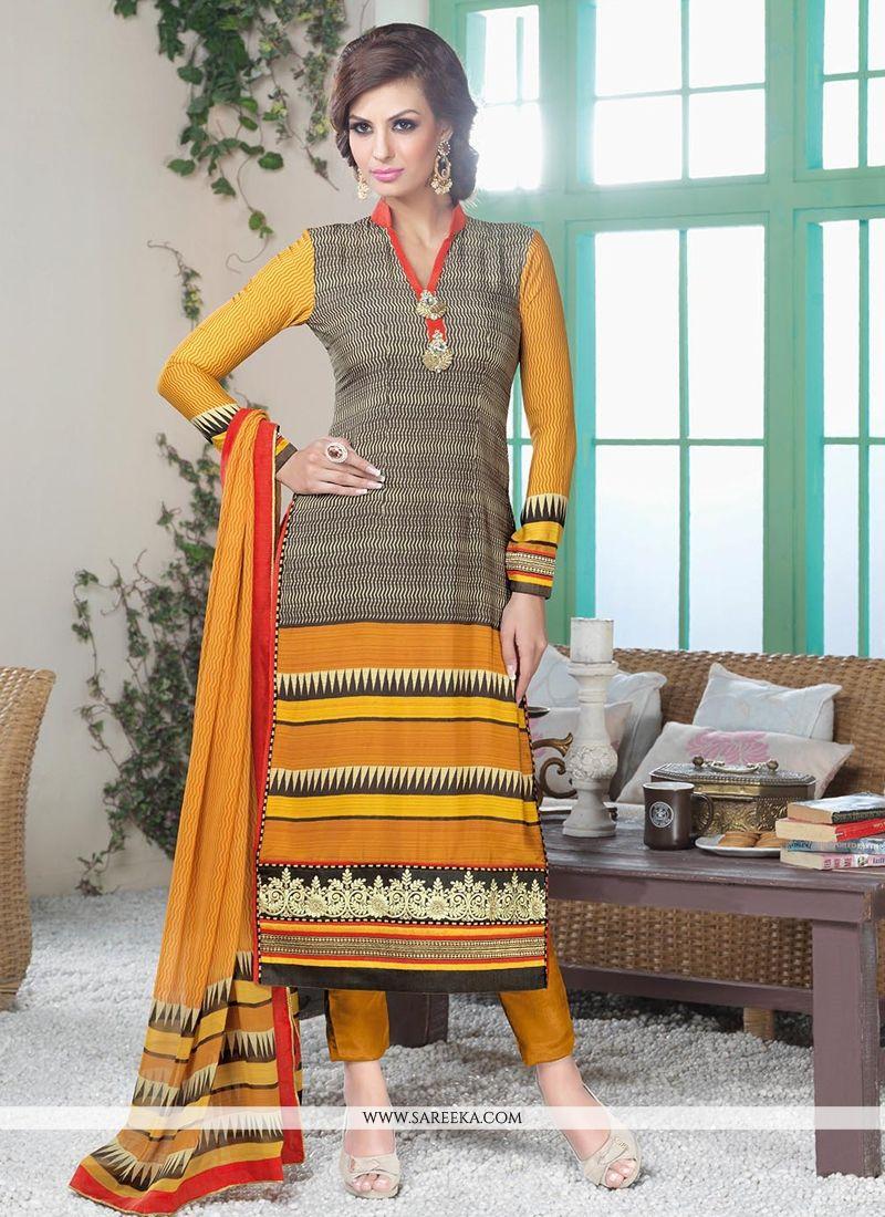 Fabulose Mustard Crepe Silk Pant Style Suit