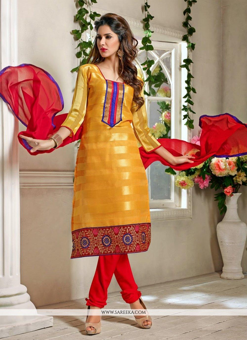 Fabulose Mustard Pure Jacquard Churidar Suit