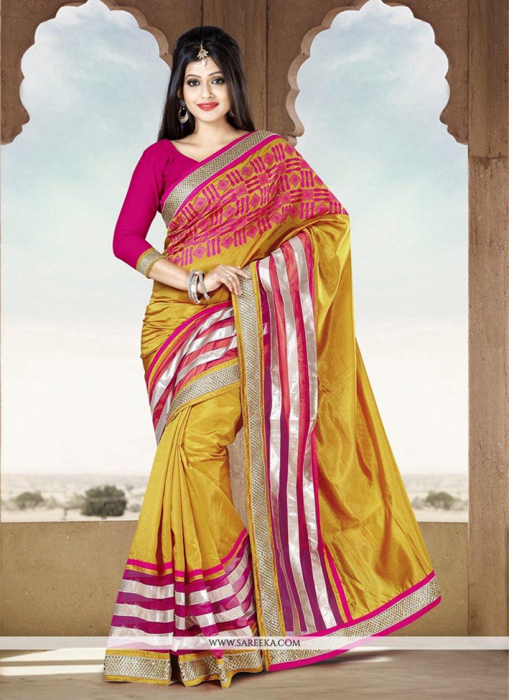 Fabulose Mustard Silk Party Wear Saree