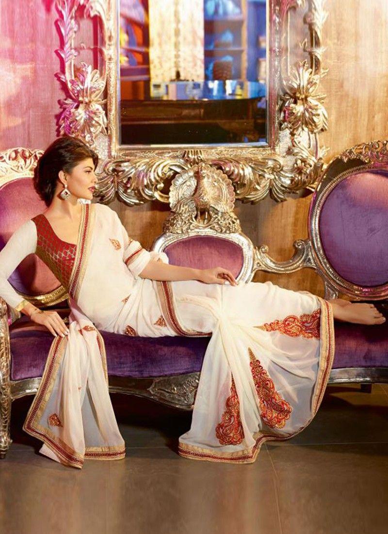 Fabulose Off White Embroidery Work Designer Saree