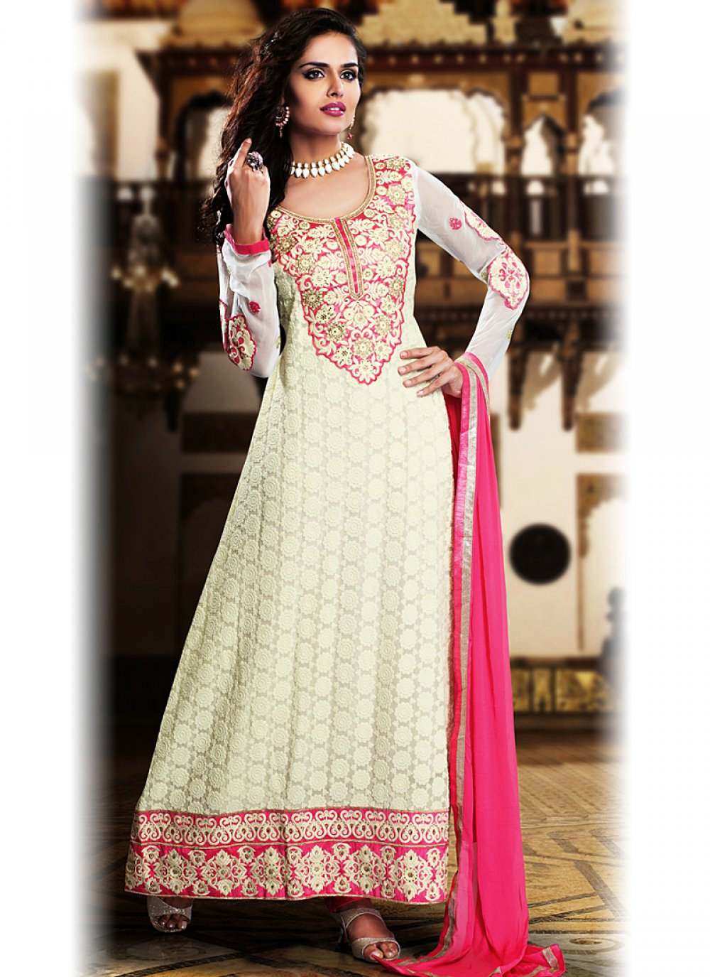 Fabulose Off White Embroidery Work Georgette Anarkalil Suit