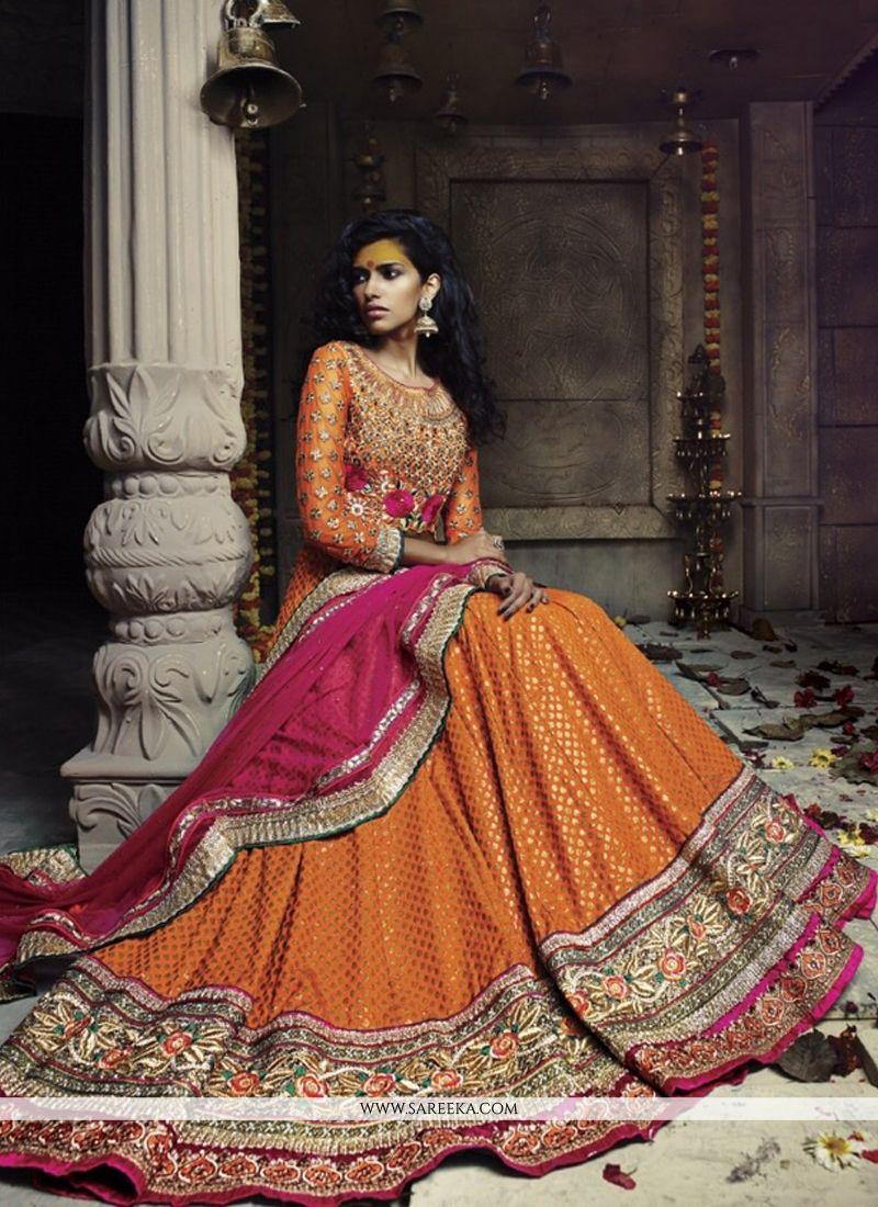Fabulose Orange Banarasi Silk Jacquard Lehenga Choli