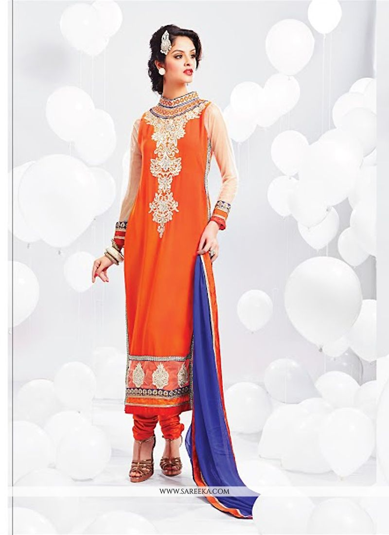 Fabulose Orange Georgette Churidar Suit
