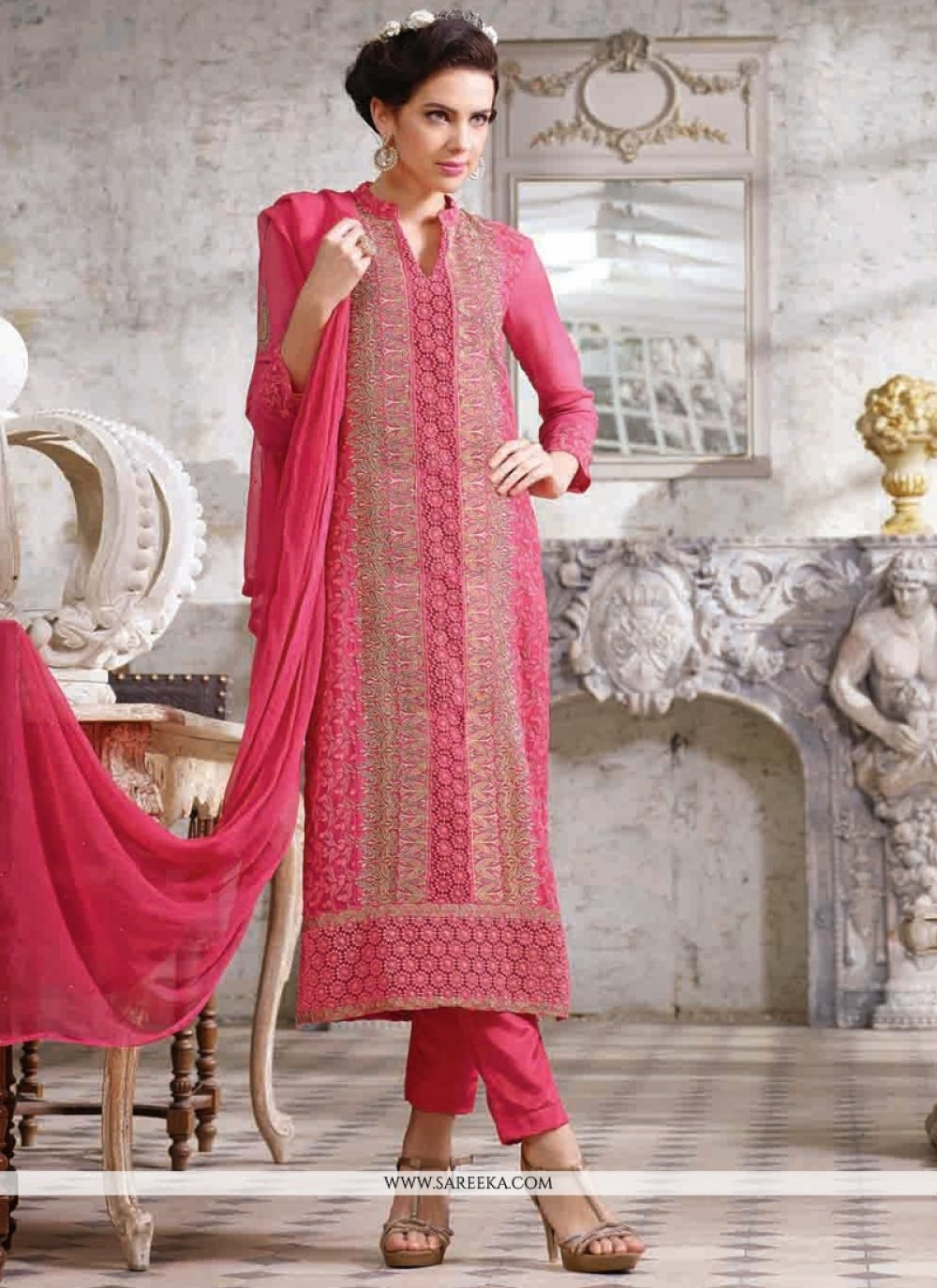 Fabulose Pink Georgette Pant Style Suit