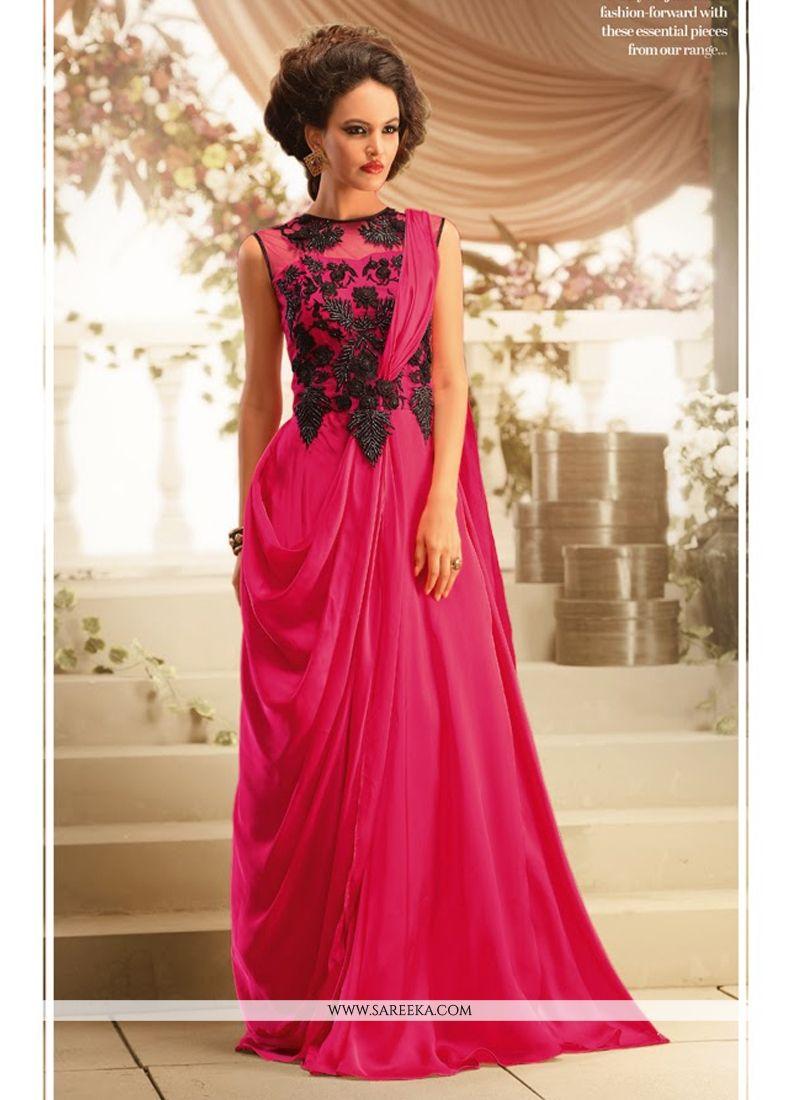 Fabulose Pink Satin Georgette Designer Gown