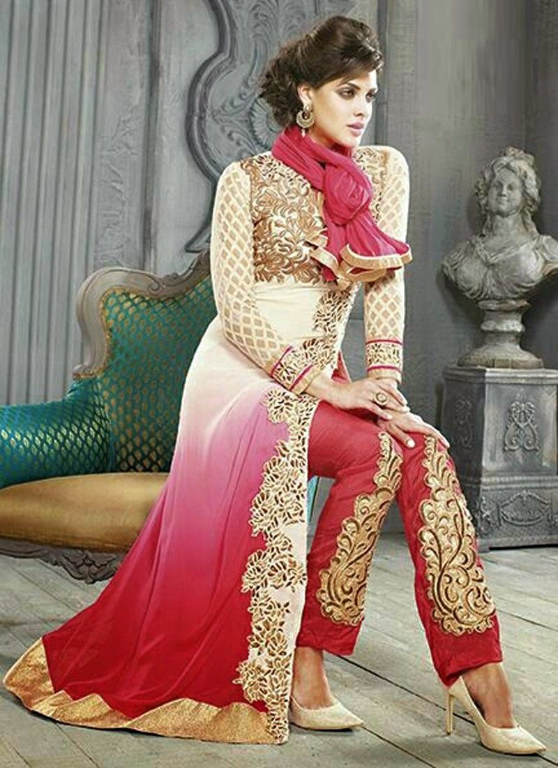 Fabulose Pink Shaded Georgette Salwar Suit
