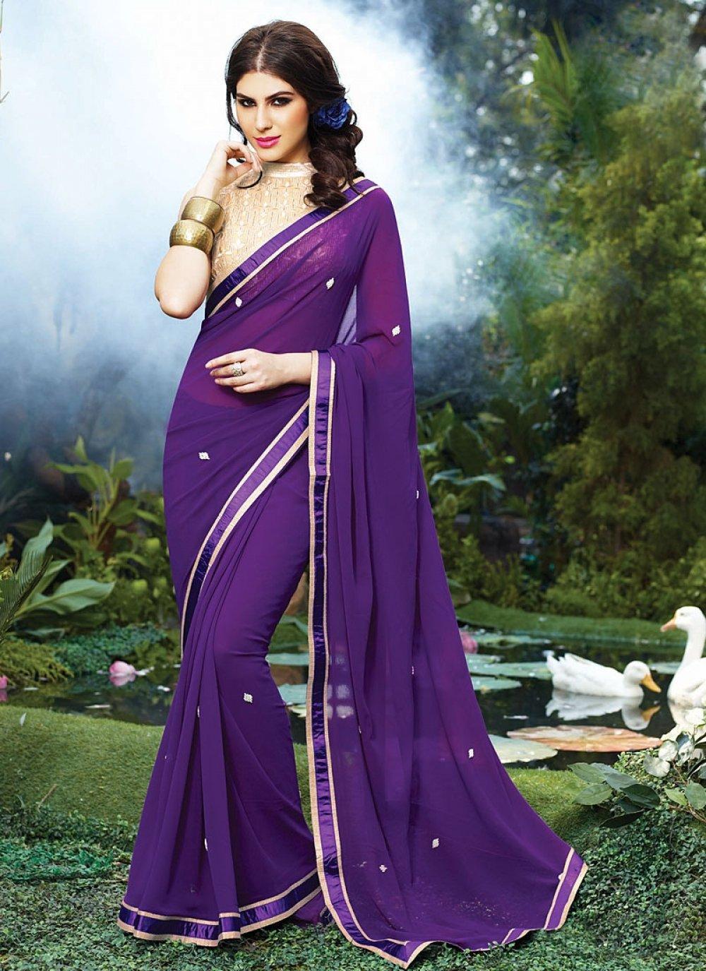 Fabulose Purple Georgette Saree