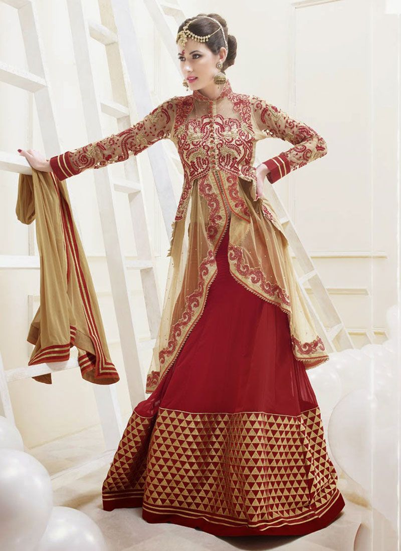 Fabulose Red And Cream Resham Work Net Anarkali Suit