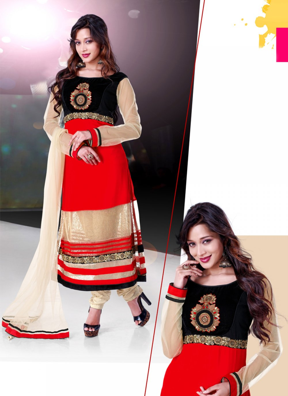 Fabulose Red Georgette Churidar Suit
