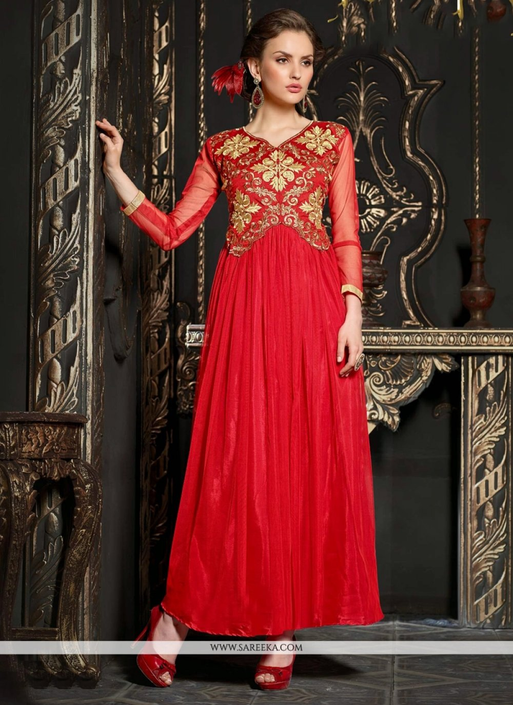 Fabulose Red Net Zari Work Anarkali Suit