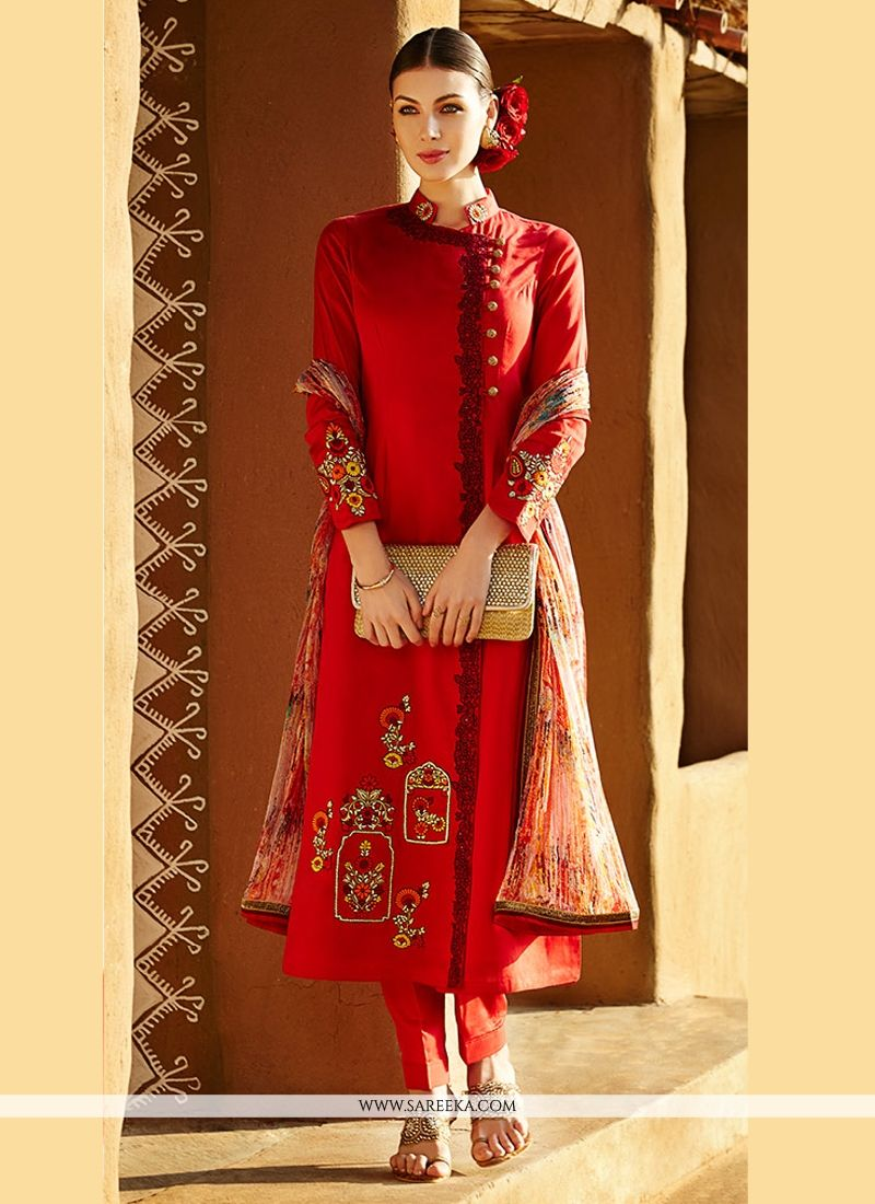 Fabulose Red Pure Linan Pant Style Suit