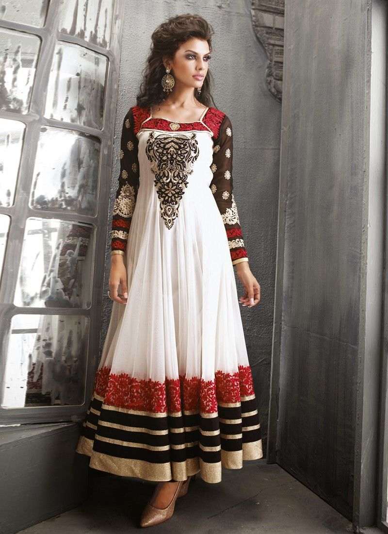 Fabulose White Resham Work Net Anarkali Suit