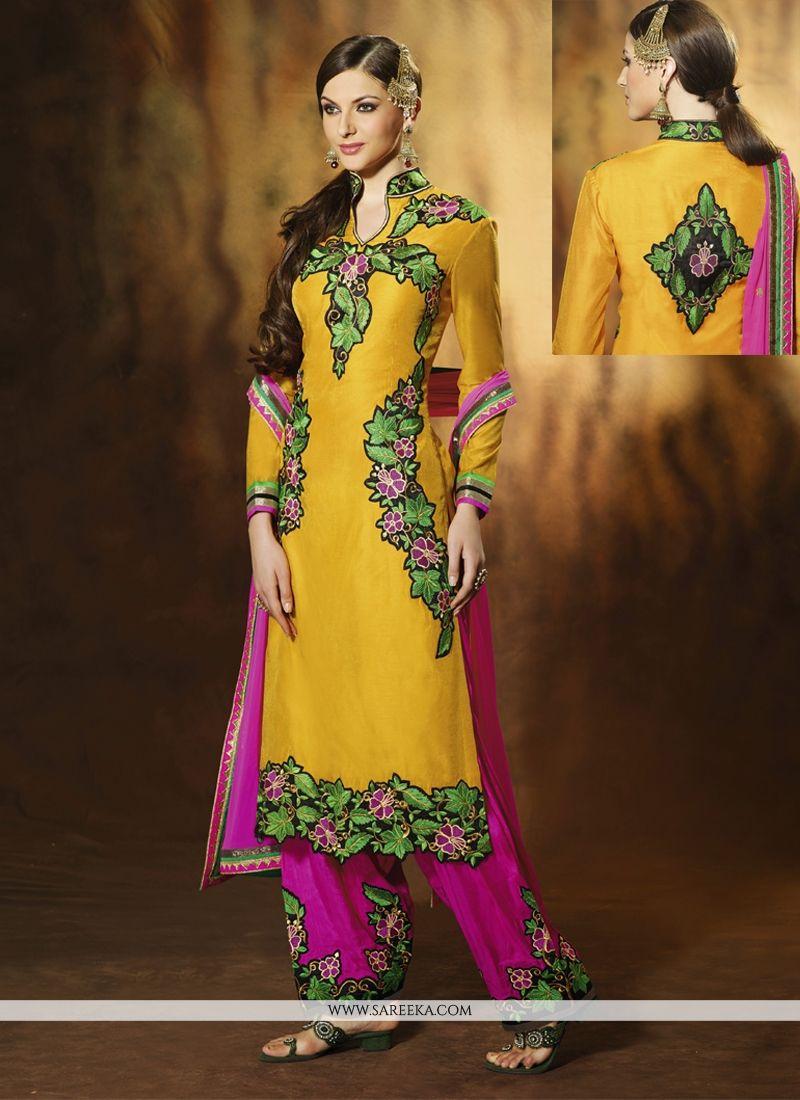 Fabulose Yellow Art Silk Salwar Suit