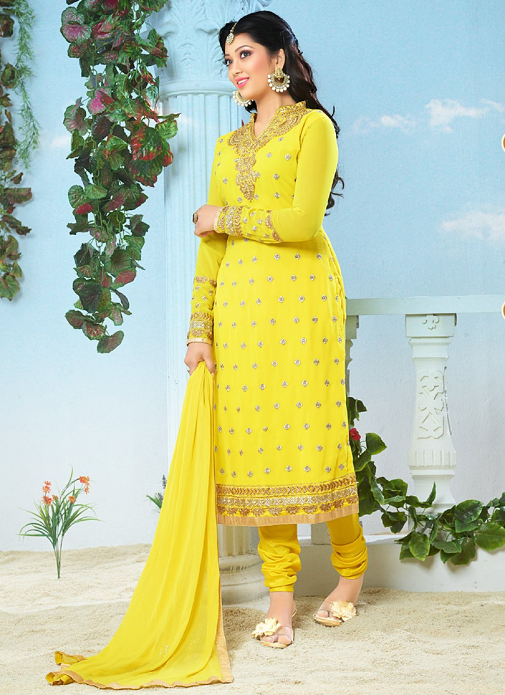 Fabulose Yellow Embroidery Work Georgette Churidar Suit