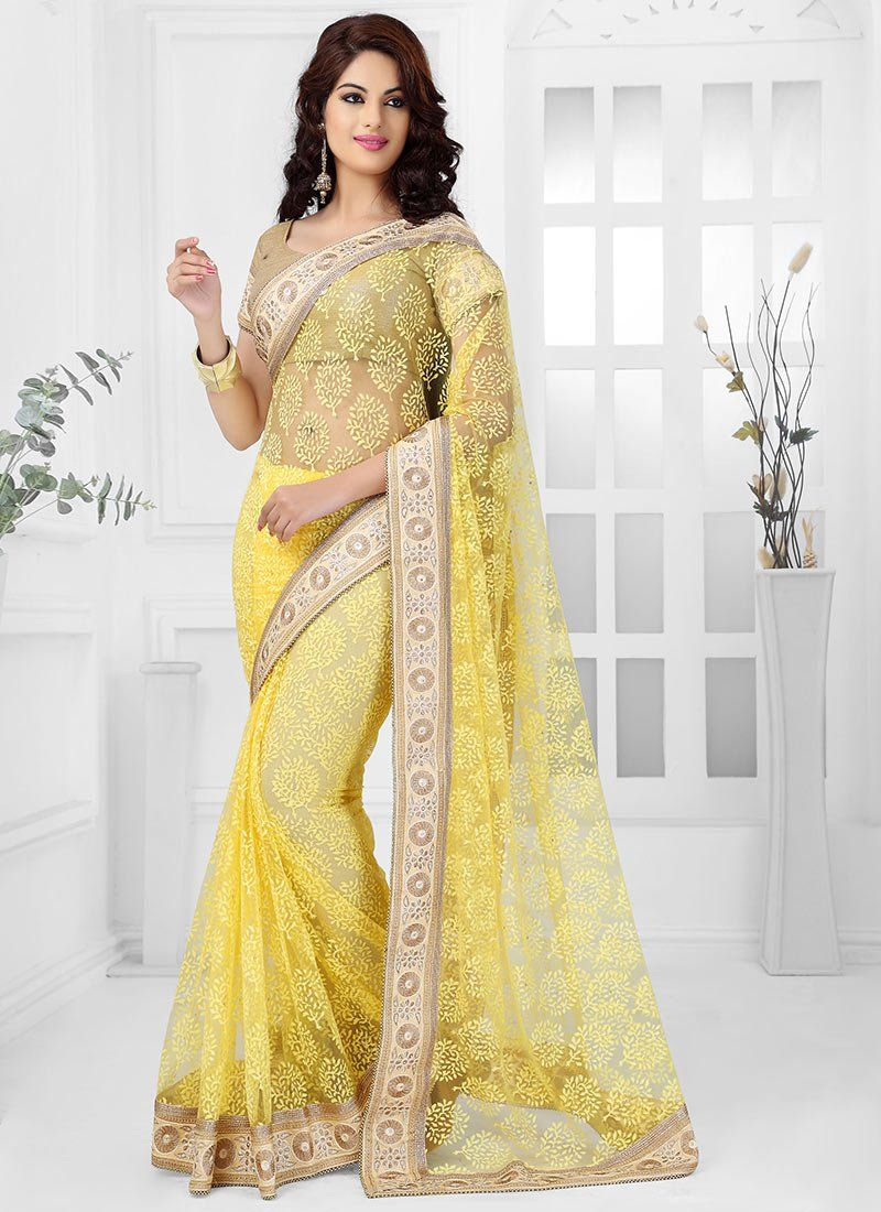 Fabulose Yellow Net Brasso Saree