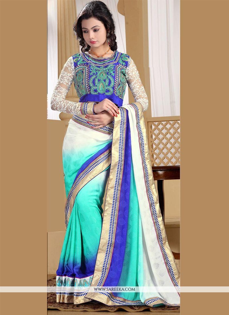 Blue and Off White Resham Work Satin Designer Saree