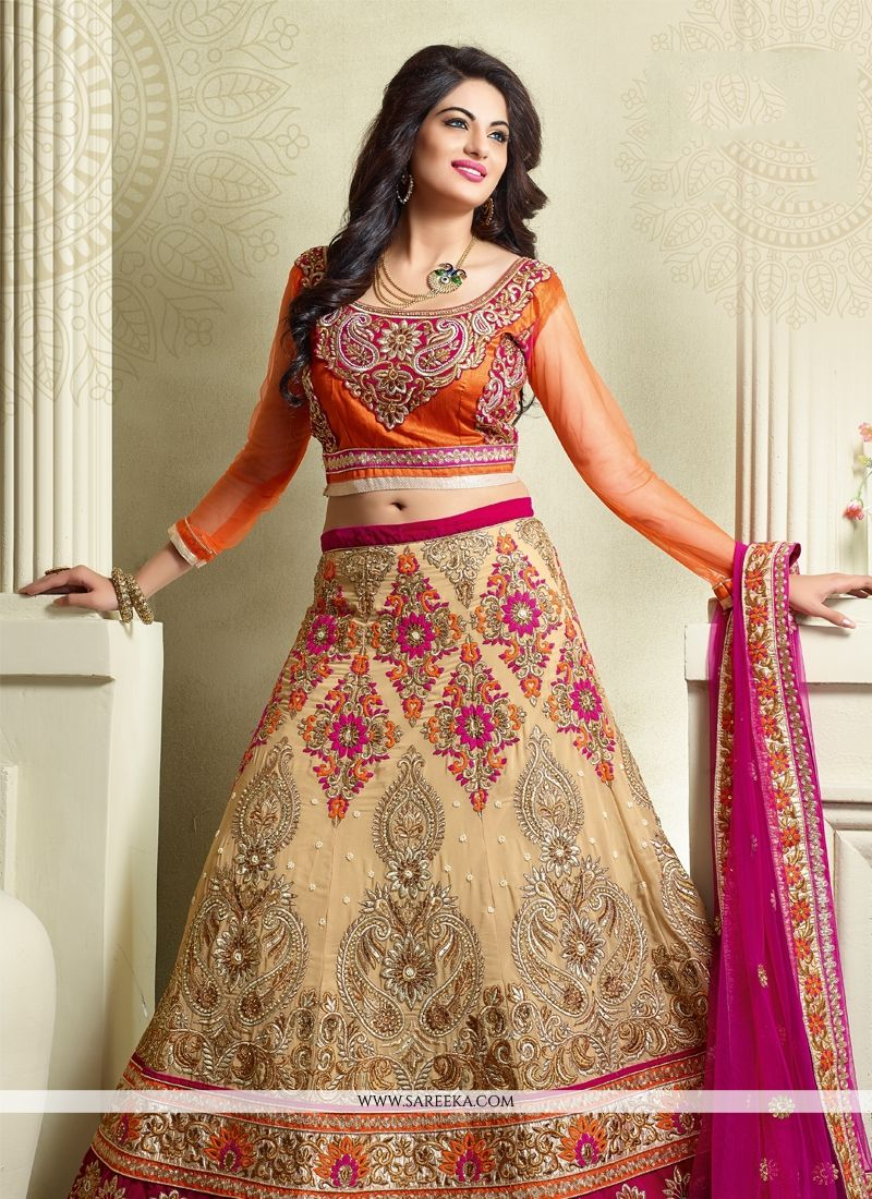 Georgette Embroidered Work A Line Lehenga Choli