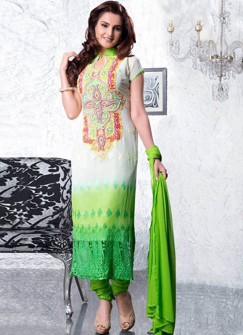 Green Resham And Embroidered Churidar Suit