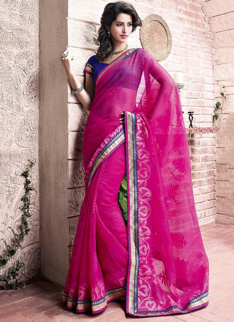 Magenta Net Designer Saree