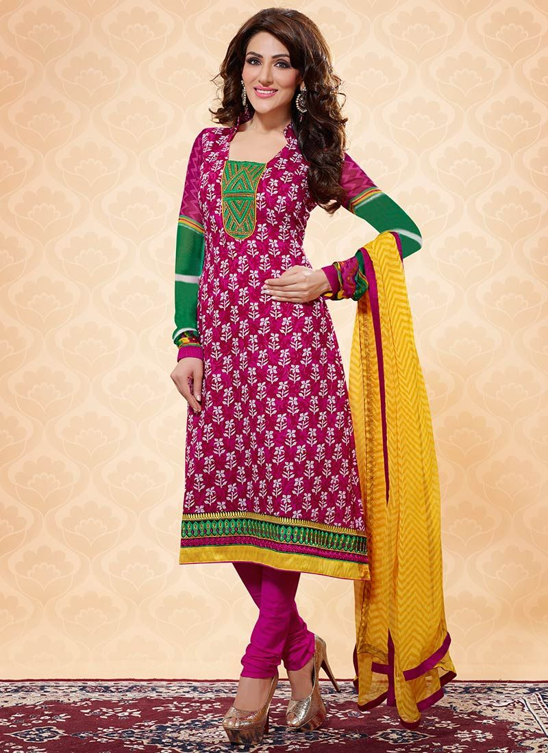 Magenta Printed Cotton Churidar Suit