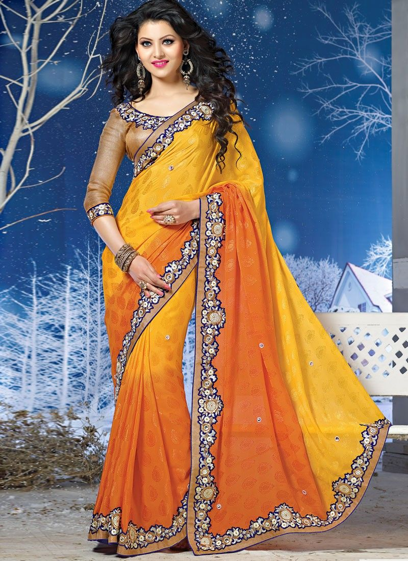 Mustard Shaded Pure Chiffon And Jacquard Saree