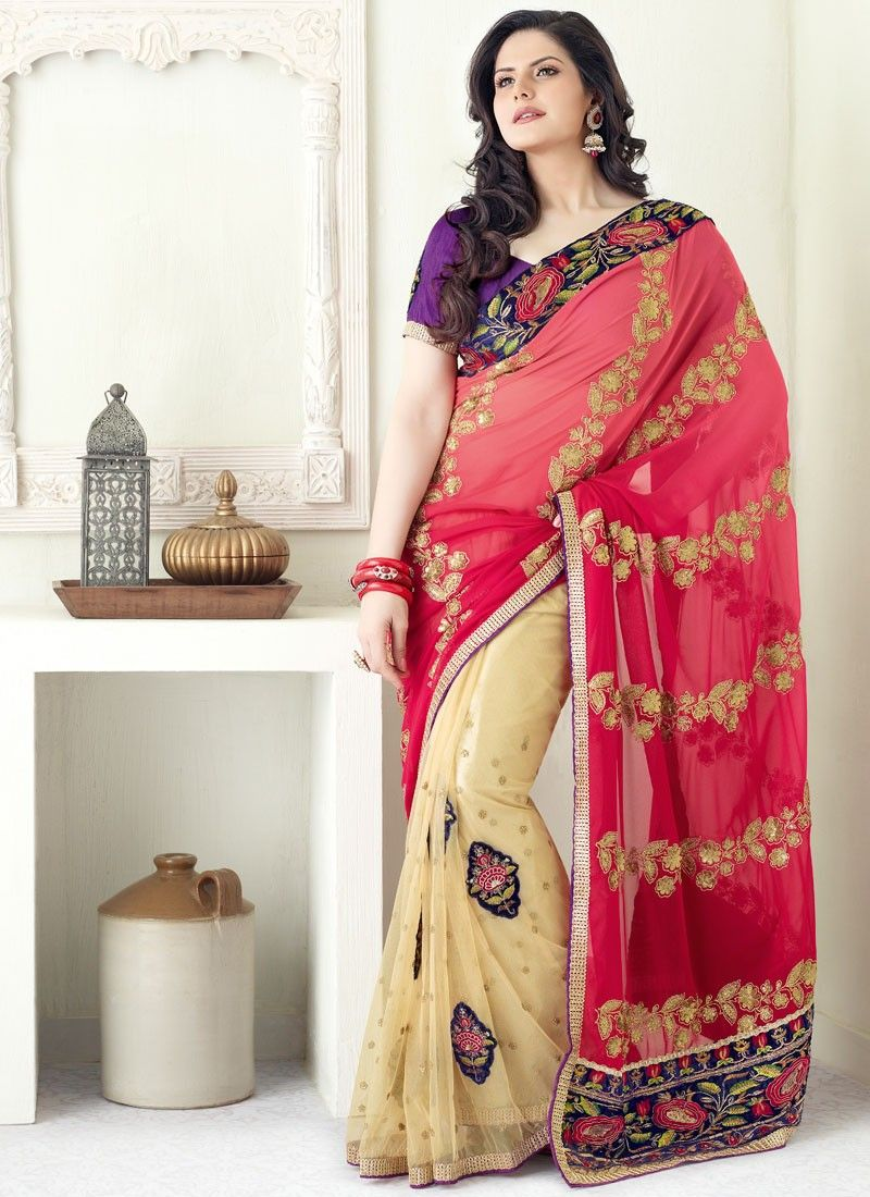 Net Half And Half Saree