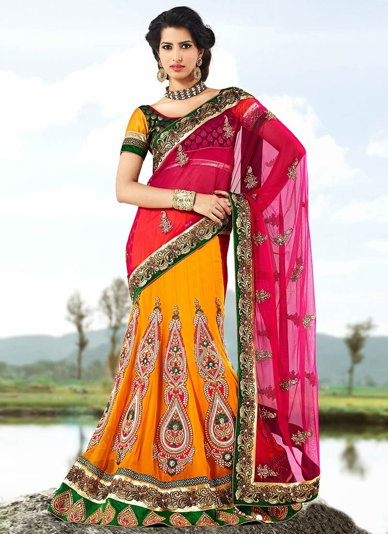 Orange And Magenta Net Lehenga Saree