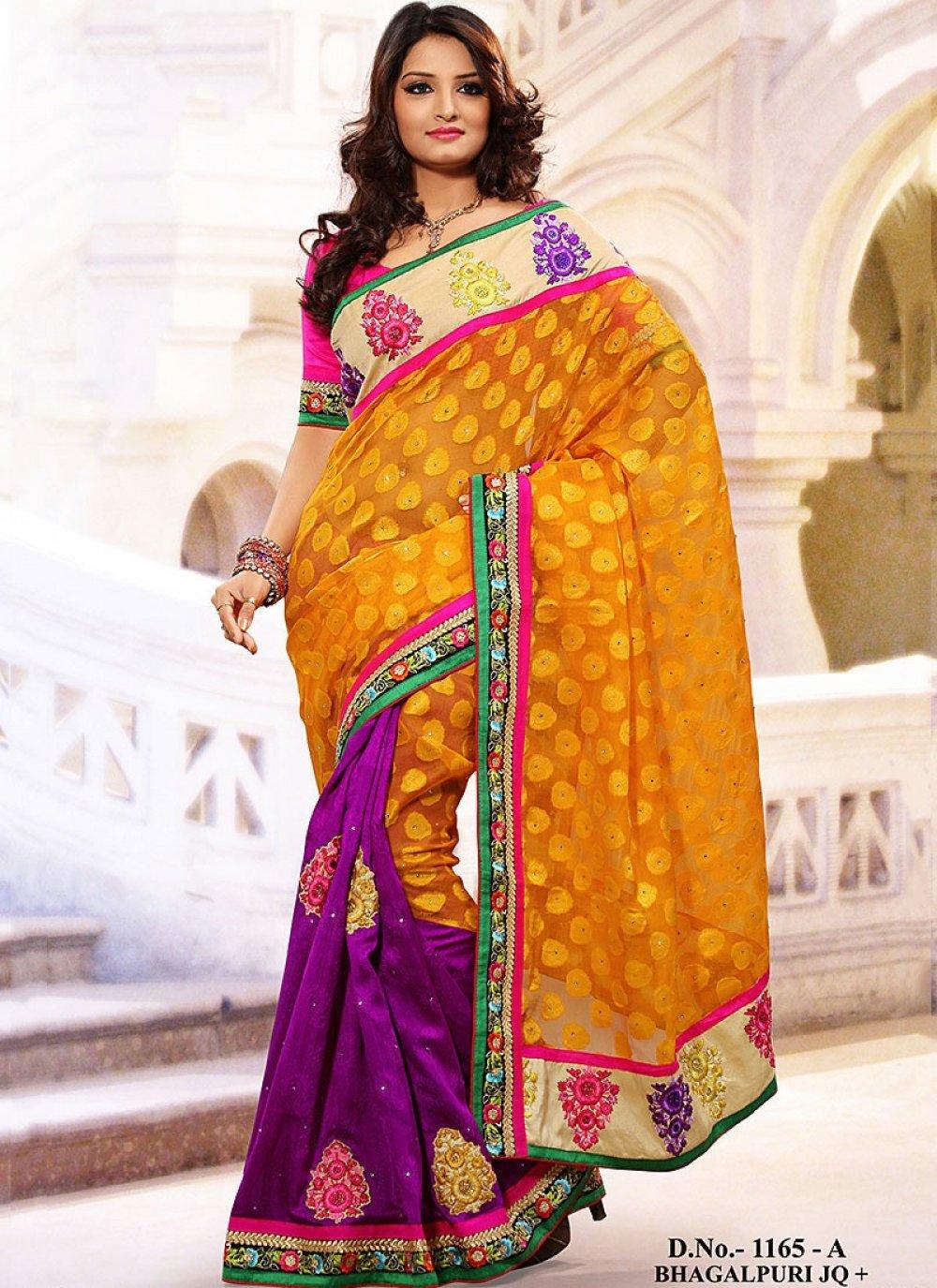 Orange Net Bhagalpuri Silk Half And Half Saree