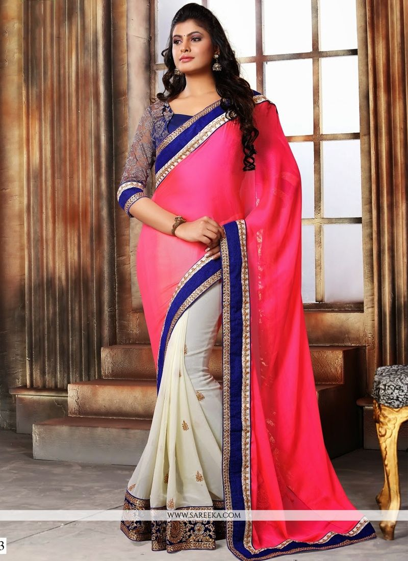 Patch Border Work Hot Pink and Off White Designer Saree