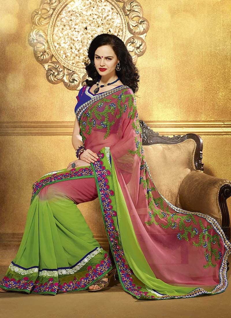 Pink And Green Embroidered Georgette Saree