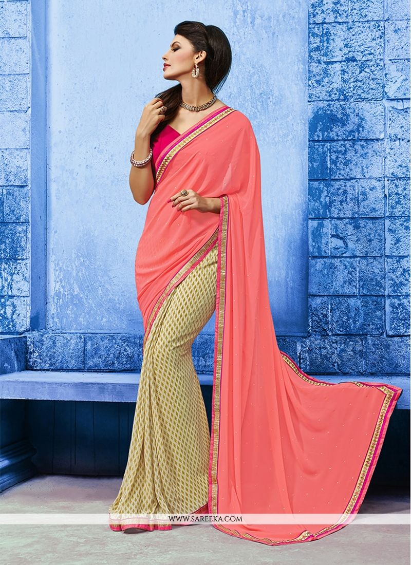 Pink Print Work Designer Saree
