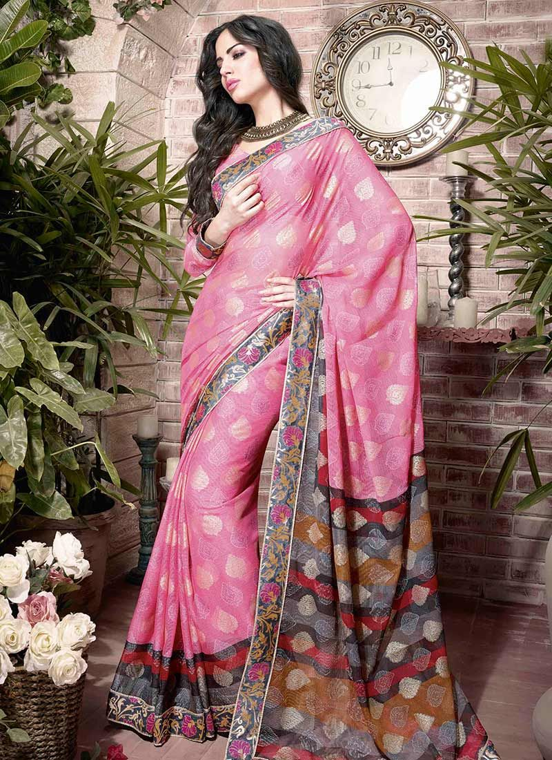 Pink Printed Faux Georgette Saree